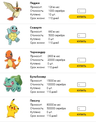 Персонажи в игре Pokemon Money