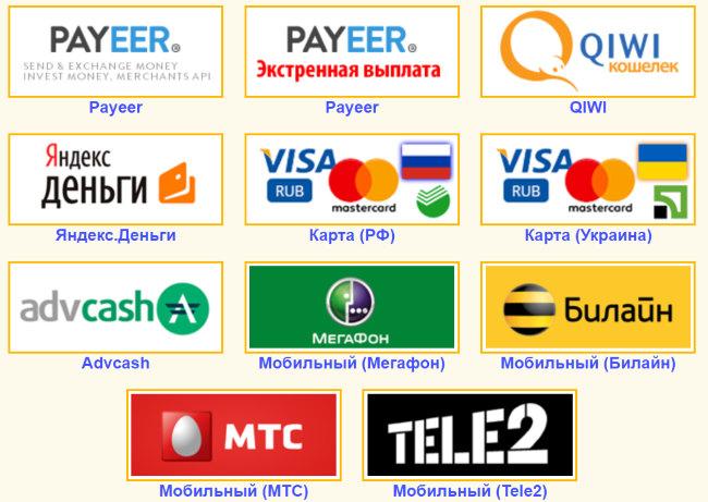 Выплаты на различные платежные системы банковскую карту, Qiwi, Яндекс-Деньги, Payeer, Advcash